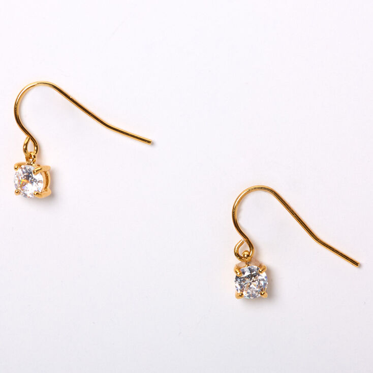 18kt Rose Gold Plated Cubic Zirconia Stone Drop Earrings,