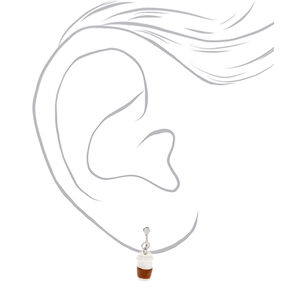 Coffee Cup Clip On Drop Earrings - White,