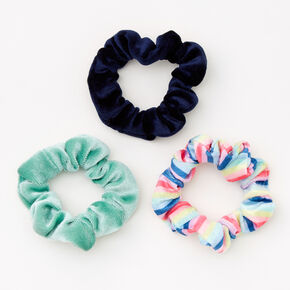 Claire's Club Small Velvet Spring Fling Hair Scrunchies - 3 Pack,