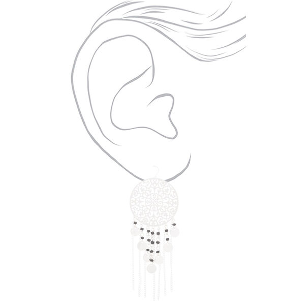 "Claire's - 3"" filigree bead drop earrings - 2"