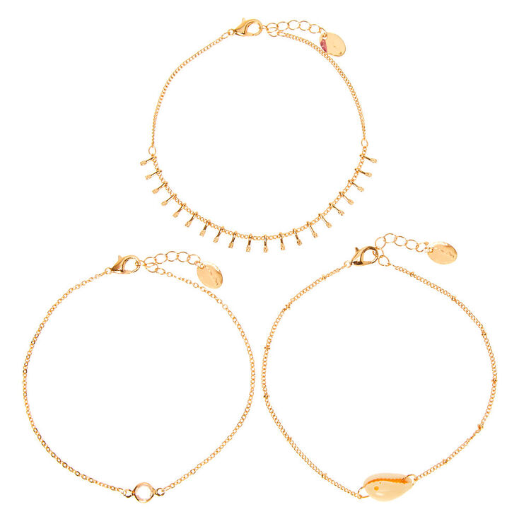 Gold Cascading Cowrie Shell Anklets - 3 Pack,