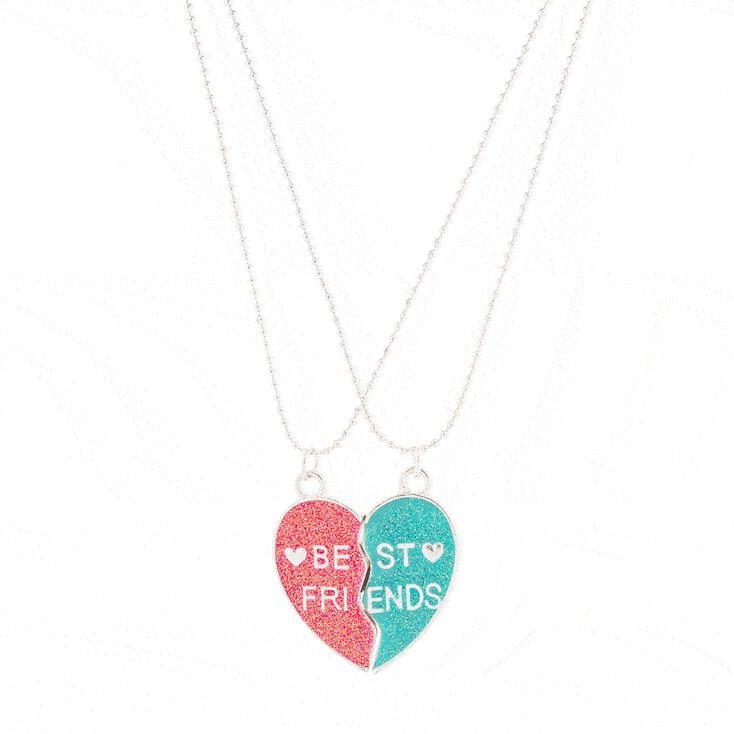 Best Friends Heart Pendant Necklace,