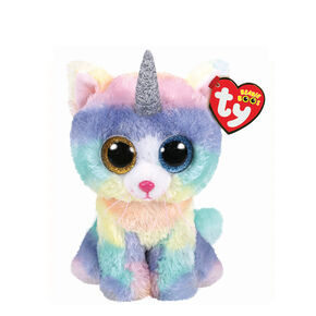 Ty Beanie Boo Small Heather the Unicorn Cat Plush Toy,