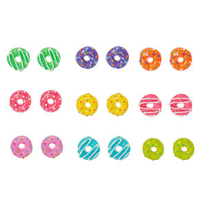 Glitter Rainbow Donut Stud Earrings - 9 Pack,