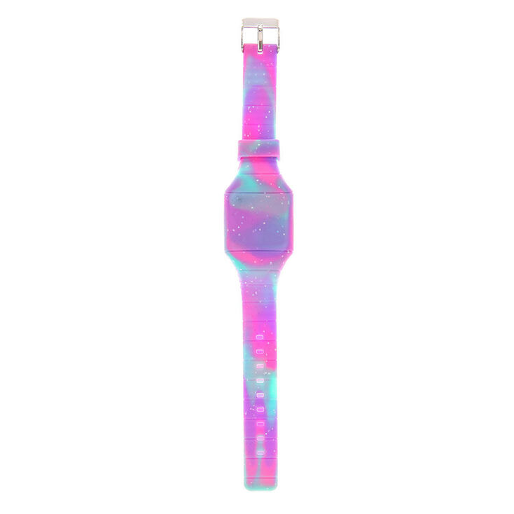 Tie Dye Glitter Rubber Watch - Purple,