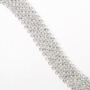 Bracelet chaîne zig zag strass couleur argentée,