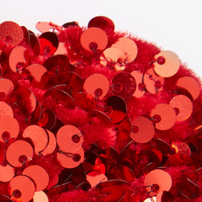 Medium Bright Red Sequin Scrunchie,