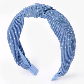 Polka Dot Pleated Knotted Headband - Blue,