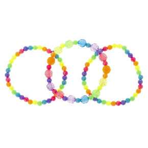 Claire's Club Rainbow Beaded Stretch Bracelets - 3 Pack,