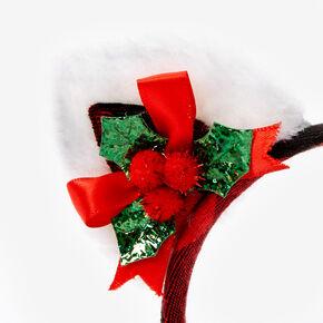 Holly Plaid Cat Ears Headband - Red,