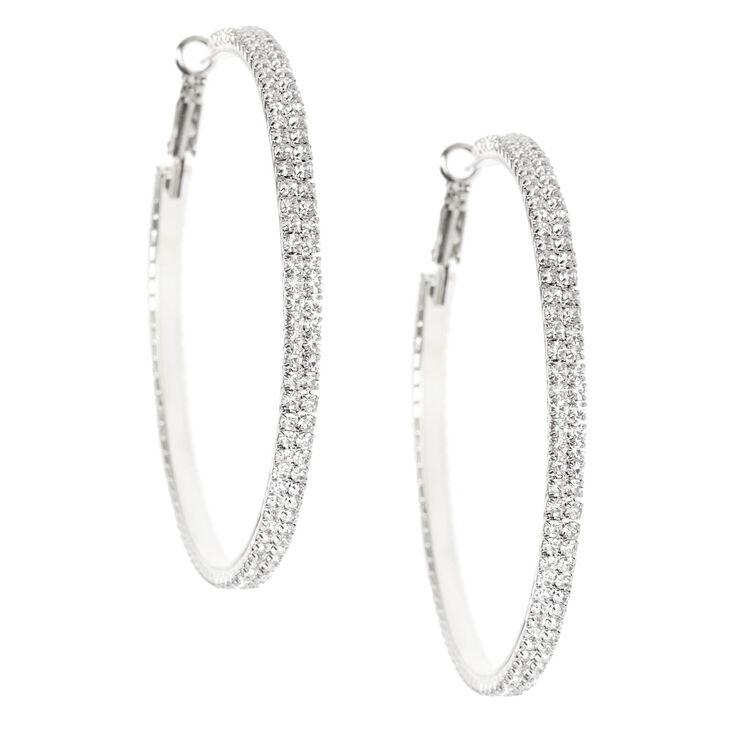Silver Rhinestone 60mm Hoop Earrings