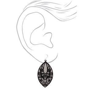 """Silver 2"""" Glitter Filigree Drop Earrings,"""