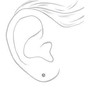 Silver Titanium Cubic Zirconia 3MM Round Stud Earrings,