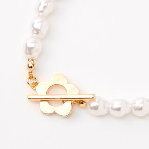 Gold Daisy & Pearl Toggle Clasp Bracelet,