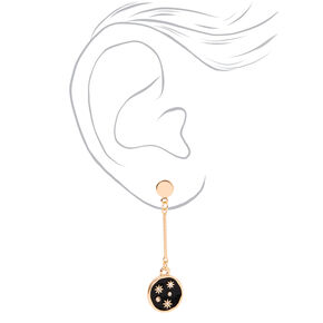 "Gold 2"" Celestial Constellation Bar Drop Earrings - Black,"