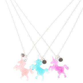 Best Friends Glitter Unicorn Pendant Necklaces,