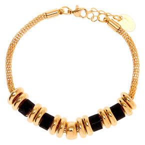 Gold Glitter Ring Chain Bracelet - Black,