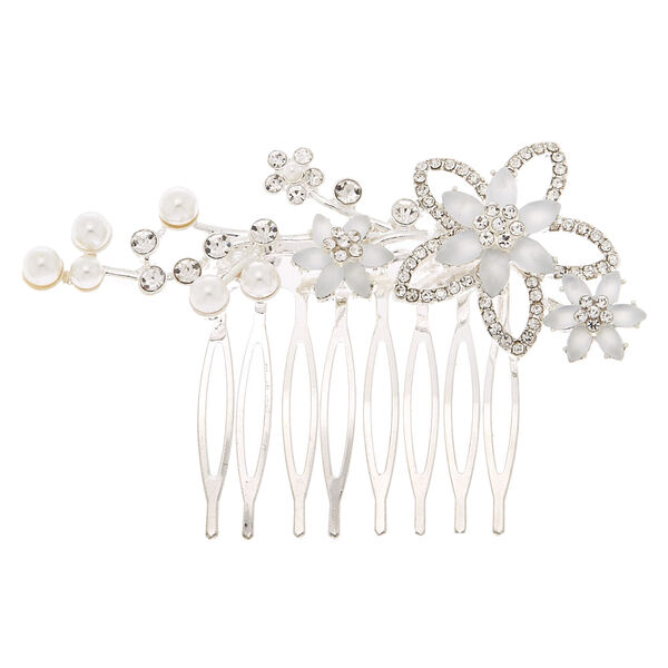 Claire's - frosted flower hair comb - 1