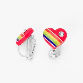 Embellished Rainbow Heart Clip On Stud Earrings,