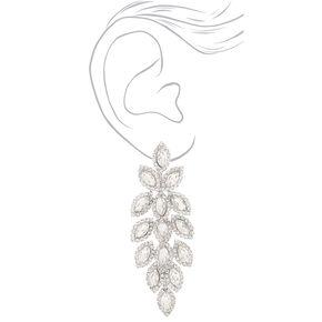 """Silver Rhinestone 3"""" Leaf Chandelier Drop Earrings,"""