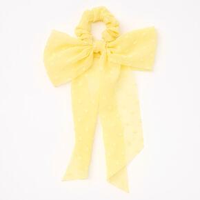 Petit chouchou foulard à nœud en organza - Jaune,