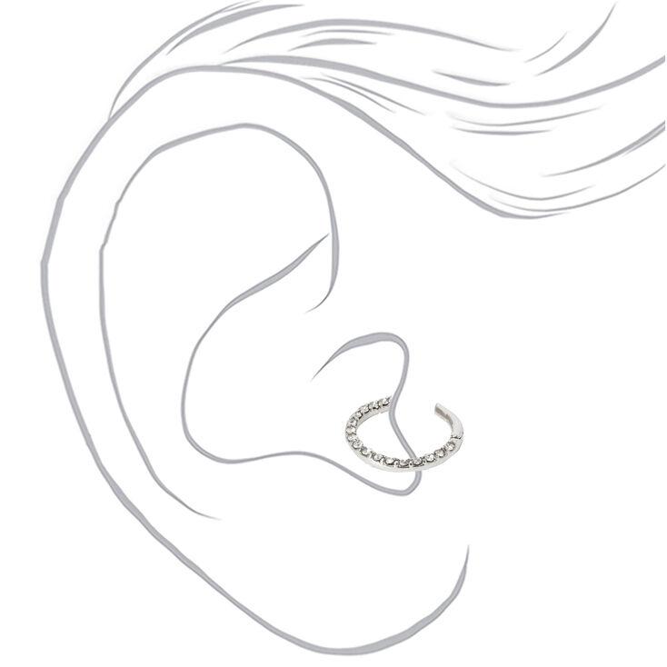 Silver 16G Embellished Stone Tragus Hoop Earring,