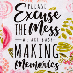 Excuse The Mess Floral Hand Towel - White,