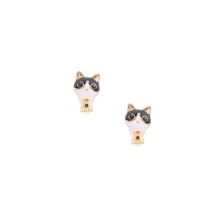 Gold Cat Clip On Stud Earrings,