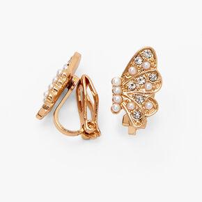 Clous d'oreilles à clip ailes de papillon ornementées couleur dorée,