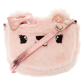 Claire's Club Furry Crossbody Bag - Pink,