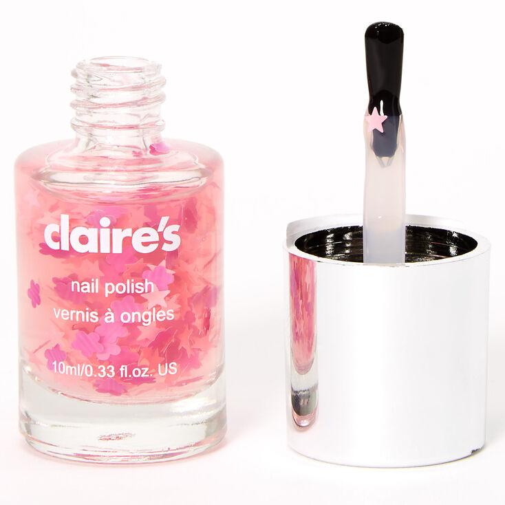 Glitter Flowers & Stars Nail Polish Topper - Pink,