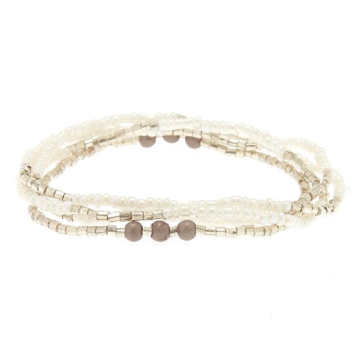 4 Pack White & Gray Beaded Bracelets,