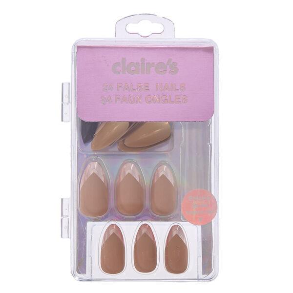 Claire's - Faux ongles mats couleur chair avec bouts chromés - 2