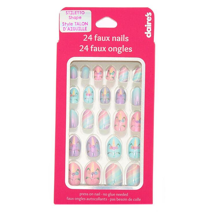 Spring Unicorn Stiletto Press On Faux Nail Set - 24 Pack,