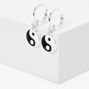 Silver 10MM Yin Yang Huggie Hoop Earrings,