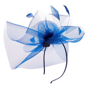 Navy Feathered Fascinator,