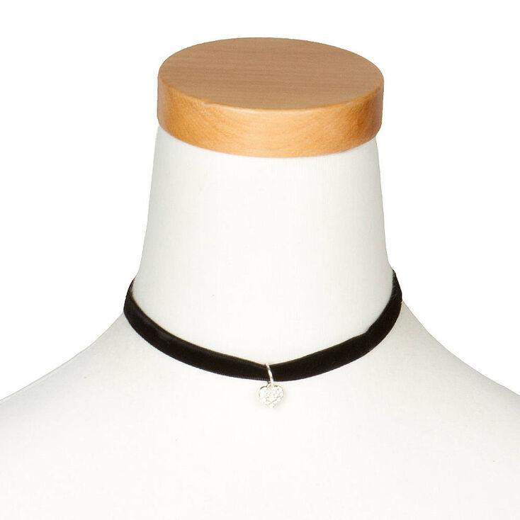 Velvety Choker Necklace with Pavé Crystal Heart Pendant,