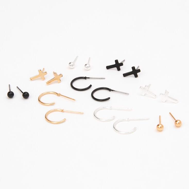 Mixed Metal Cross Stud & Hoop Earrings - 9 Pack,