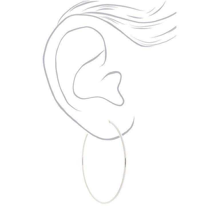 Silver 60MM Spring Clip Hoop Earrings,