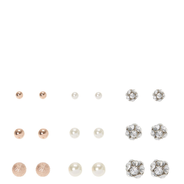 Graduated rose gold pearl and crystal ball stud earrings