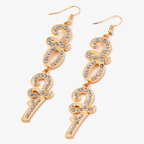 "Gold 3"" 2021 Cubic Zirconia Linear Drop Earrings,"