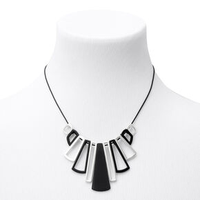 Black & Silver Piano Keys Statement Necklace,