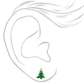 Clous d'oreilles thème de Noël couleur argentée - Lot de 3,