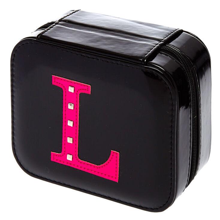 """Black """"L"""" Initial Jewelry Case,"""
