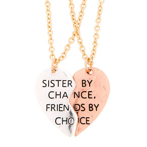 Mixed Metal Sister by Chance, Friends by Choice Pendant Necklaces,