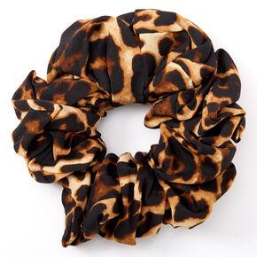Giant Leopard Print Hair Scrunchie - Brown,