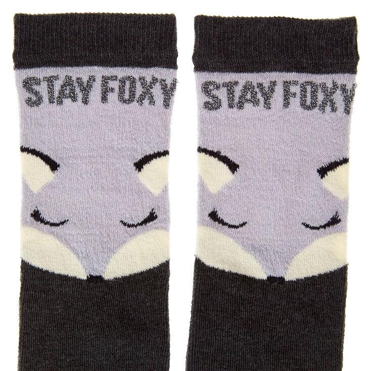 Chaussettes montantes «STAY FOXY» noires et grises,