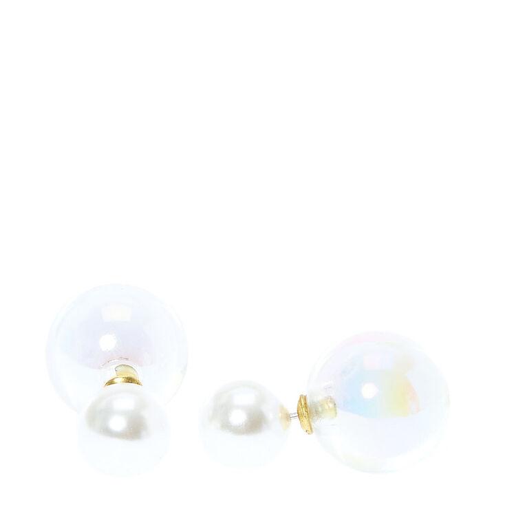 Clous d'oreilles avant et arrière avec boule en strass transparent et perle d'imitation,