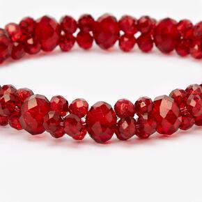 Bracelet élastique perlé à facettes - Rouge,