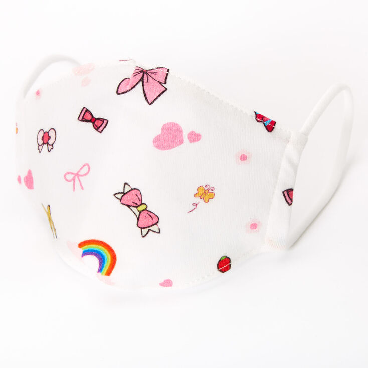Cotton White Rainbows and Bows Face Mask - Child Small,